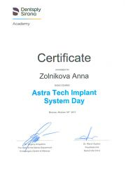 Фото Certificate of basic course Astra Tech Implant System Day